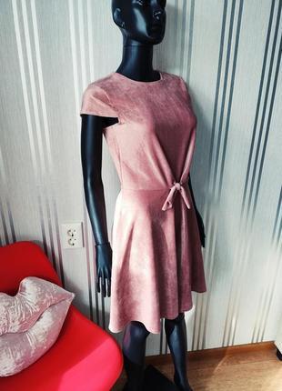 Афигенное пудровое платье велюр вельвет в рубчик завязка спереди 💣4 фото