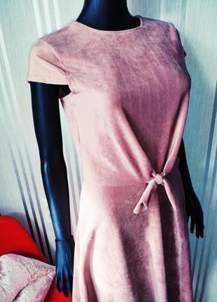 Афигенное пудровое платье велюр вельвет в рубчик завязка спереди 💣6 фото