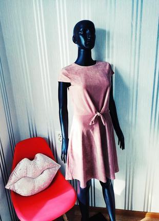 Афигенное пудровое платье велюр вельвет в рубчик завязка спереди 💣7 фото