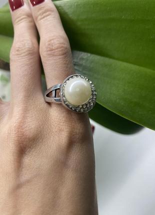 Кольцо 💍 с жемчужиной большое крупное кольцо со стразами