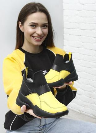 Кожаные кросовки без шнурков ботинки