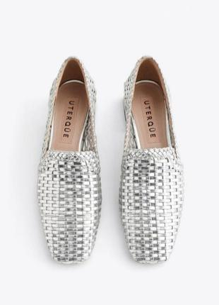 Кожаные серебряные туфли ,металические лоферы uterque