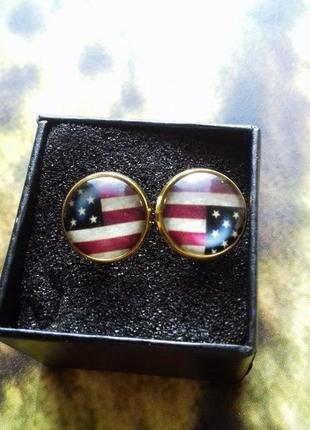 "Запонки золотого цвета ""американский флаг"" америка american style"