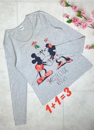 1+1=3 фирменный серый свитер лонгслив с микки-маусами disney, размер 44 - 46