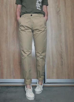 Крутые коттоновые песочные бежевые брюки - чиносы, карго на весну на средней посадке only