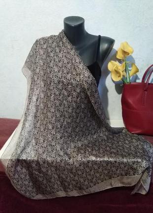 Большой платок, натуральный шелк, франция, 1-2-3, премиум бренд, 100*103см