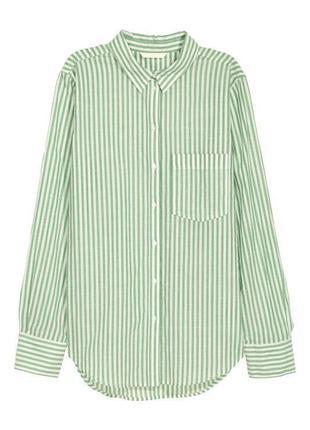 Рубашка блуза оверсайз хлопок в полоску h&m
