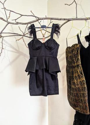 Платье черное мини чёрное короткое