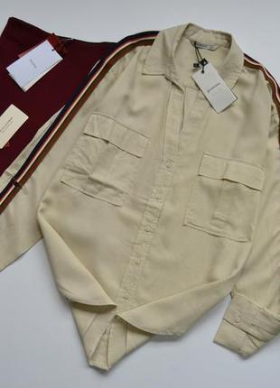 Блуза трендова лляна пісочного кольору stradivarius