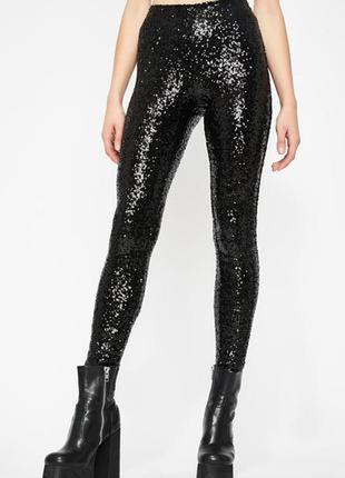 Брендовые женские черные брюки леггинсы mos mosh паетки
