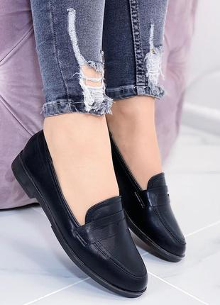 Новые шикарные женские черные туфли лоферы