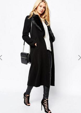 Пальто asos missguided чёрное с воротником из искусственного меха