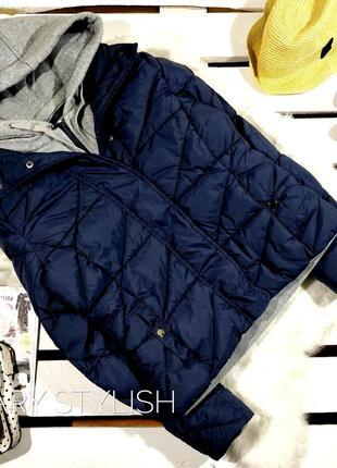 Курточка кофта с довязом трикотажным капюшоном