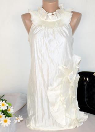 Брендовое бежевое нарядное короткое мини платье ax paris этикетка