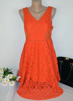 Брендовое ажурное кружевное вечернее миди платье divided коттон узор цветы