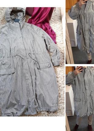 Мега стильная удлиненная обьемная куртка/ветровка в полоску,two danes, p. m- xxl