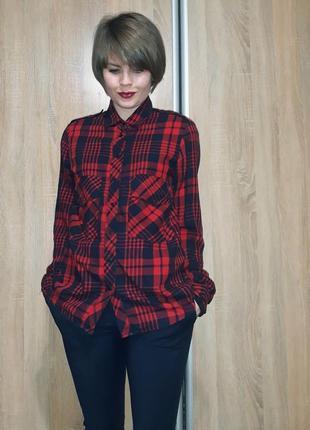 Трендовая хлопковая мягкая красно-черная рубашка в клетку zara