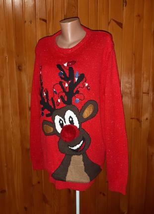 Красный новогодний рождественский свитер с оленем, нос помпоном