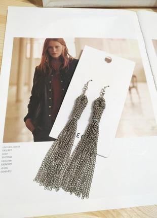 Длинные серьги цепочки pieces, серебристые сережки подвески asos кульчики
