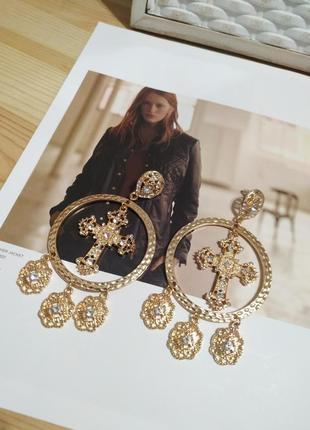 Шикарные серьги подвески с крестиком asos, золотистые сережки шандельеры креск, кульчики