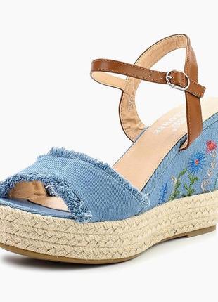 Джинсовые босоножки эспадрильи сандалии на танкетке clowse