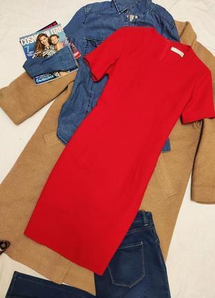 Маркс спенсер красное алое классическое платье футляр карандаш на подкладке