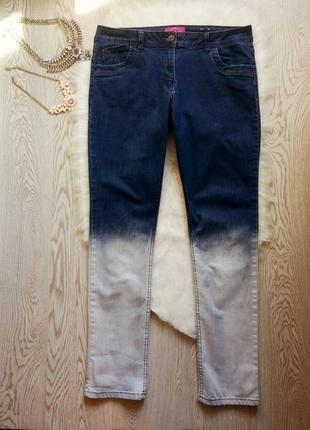 Синие джинсы с белым градиентом снизу высокая талия посадка стрейч батал высокий рост