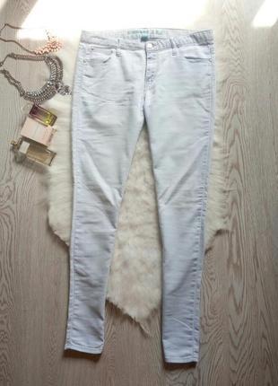Голубые скинни джеггинсы джинсы средняя талия американки узкачи почти белые стрейч