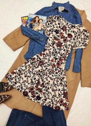 Topshop платье хлопковое коттоновое бежевое красное приталенное в цветочный принт