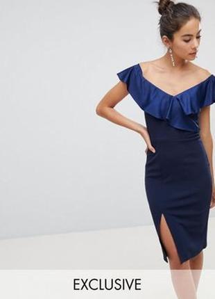 Silver bloom платье миди тёмно синее футляр карандаш с вырезом на ноге