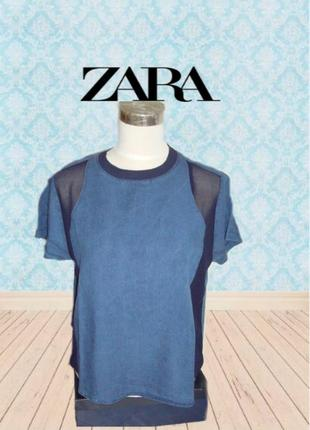 🌹🌹zara basic стильная женская футболка деним с отделкой  l🌹🌹🌹