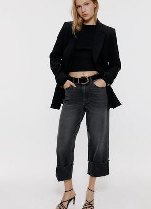 Модные широкие джинсы zara с подворотами. оригинал, испания
