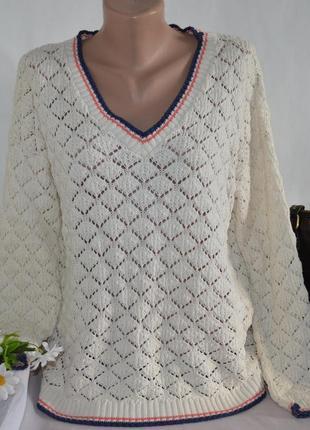 Брендовая бежевая коттоновая теплая кофта свитер в дырочку atmosphere