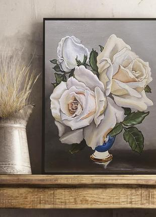 Живопись картина холст масло белые розы фламандская техника