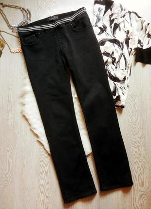 Черные плотные прямые зимние джинсы джеггинсы на резинке не скинни высокий рост