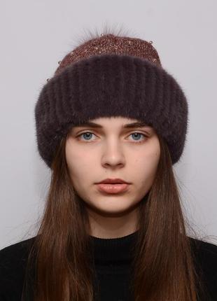 Женская вязанная шапка с бубоном из норки ажур чайная роза