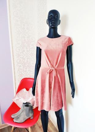 Афигенное пудровое платье велюр вельвет в рубчик завязка спереди 💣1 фото