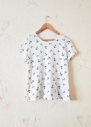 Белая футболка new look, якоря, базовая, хлопковая