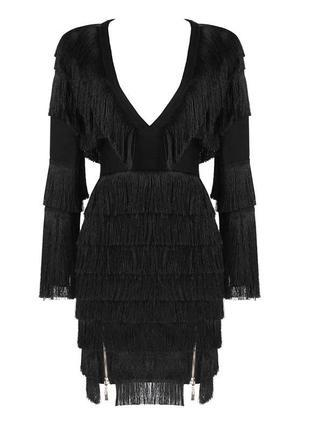 Новое!черное бандажное миди платье с бахромой на 14 февраля