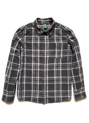 Рубашка в клетку с длинным рукавом united colors of benetton, 140 см #розвантажуюсь