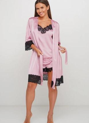 Комплект костюм шелковый пижама и халат orli