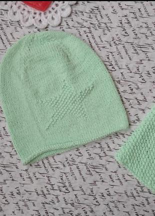 Вязаный детский комплект шапка шапочка бини и снуд