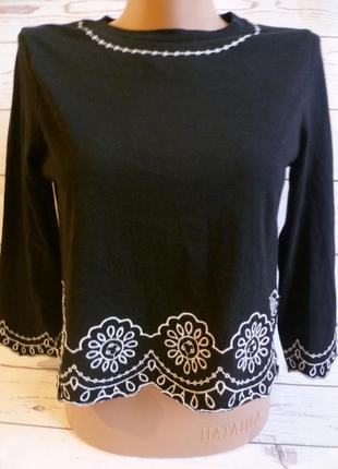Блуза,кофточка, футболка чёрная с вышивкой хлопок topshop