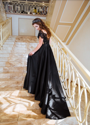 Шикарное вечернее выпускное  платье s  плаття шлейф для торжества.