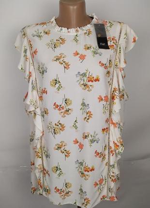 Блуза новая натуральная рюши принт большой размер f&f uk 22/50/4xl