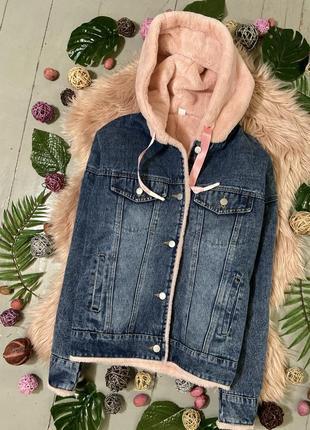 Джинсовая теплая куртка пиджак демисезон