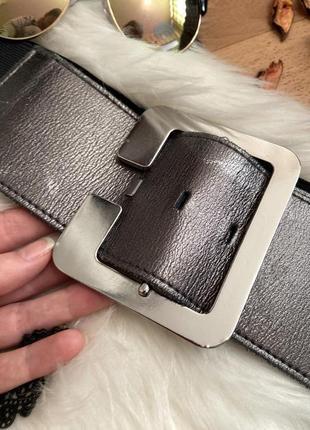 Стильный кожаный пояс с широкой пряжкой №258max