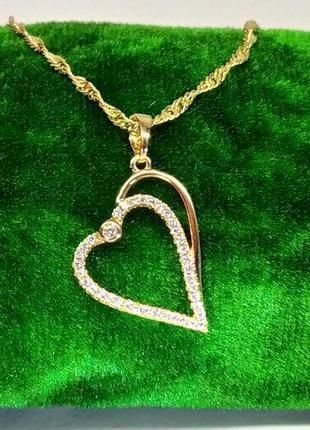 Позолоченная подвеска-сердечко с цирконами +цепочка-спираль 60 см 2 мм, кулон, позолота