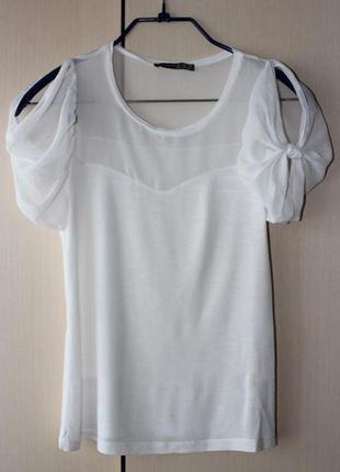 Блуза белая с шифоновыми рукавами