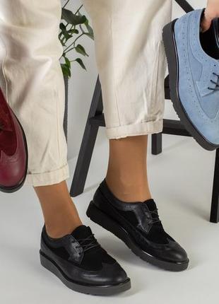 Lux обувь! натуральные кожаные замшевые туфли женские оксфорды